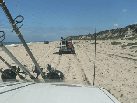 4WDers having a trip on a seashore.