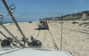 4WD's travelling on a seashore.