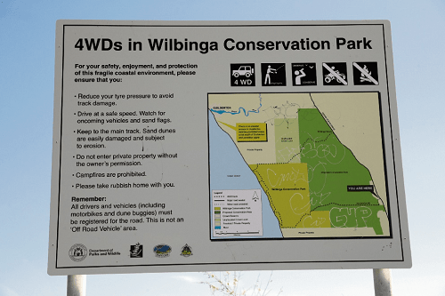 A road signage about Wilbinga Conservation Park for 4WD's.