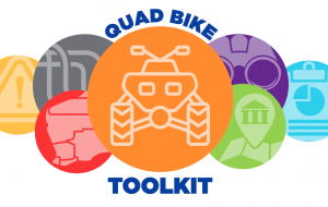 Animated logo of quad-bike toolkit and riders.