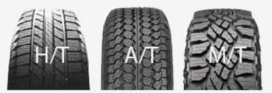 H/T, A/T, and M/T as the 3 types of tyres.