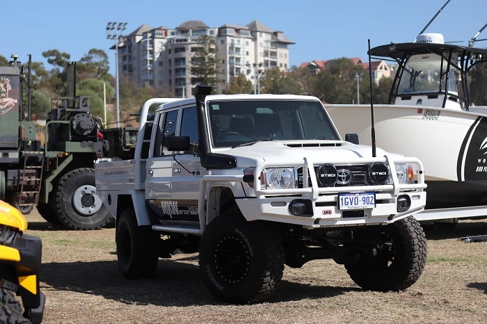 White coloured 4wd on the Perth Big Boys Toys Expo February 2020.
