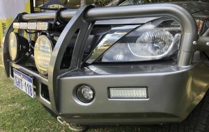 Closed-up of grey bull bars of a 4wd.