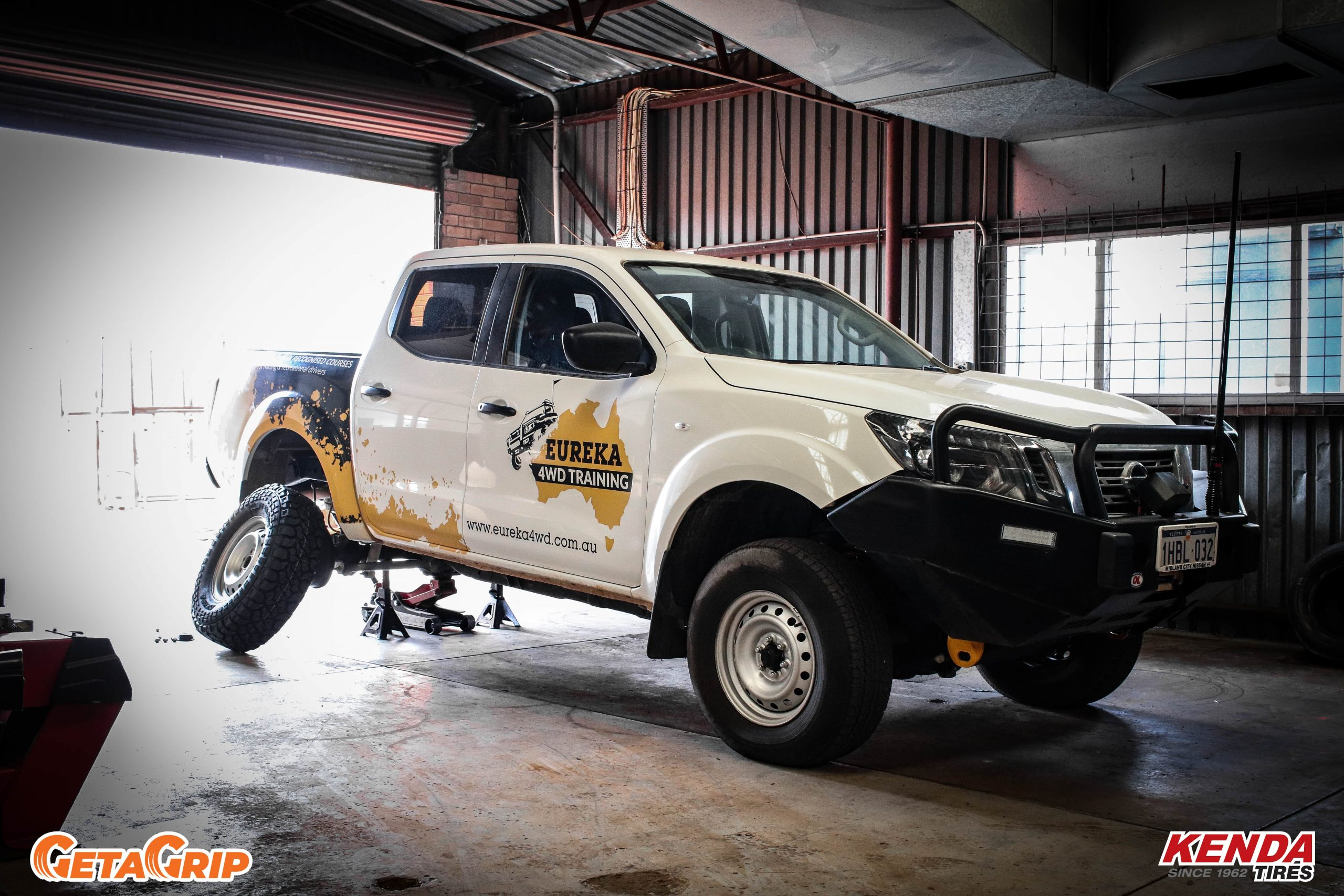 Getting some Kenda offroad tyres fitted to our Navara