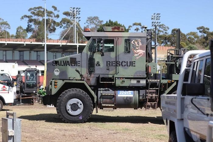 A camouflage-coloured truck attending Perth Big Boys Toys Expo.