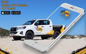 """4WD vehicle and an i-Phone as the featured image of """"eureka 4wd training phone application""""."""