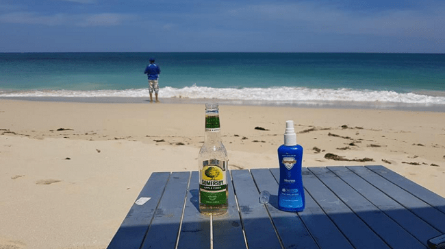 """Drink and a spray placed on top of a table with beach as a background and that represents """"wilbinga conservation park"""" blog."""