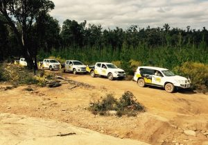 Eureka 4WD Training group on their 4WD vehicles/trucks in a convoy travel.