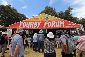 """People gathering at a tent namely """"Fourby Forum"""" at the 4WD adventure show and recap."""