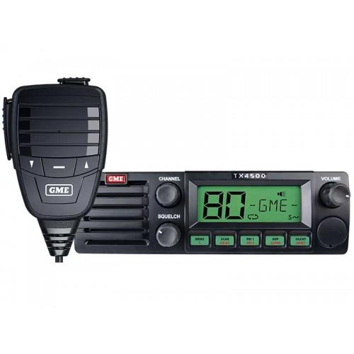 Black-coloured GME UHF radio with white background.