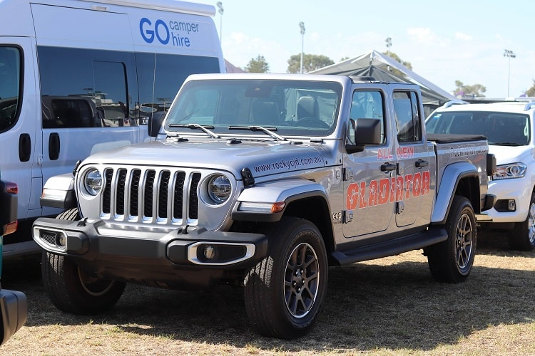 A grey 4WD parked and participating in Perth Big Boys Toys Expo.