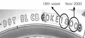 Closed-up of a 4wd tyre with manufacturer stamp date.