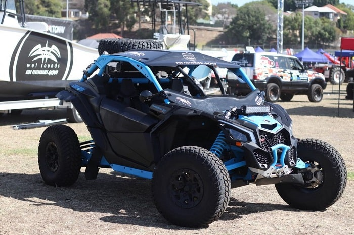 A black and blue coloured of ATV as one of the Perth Big Boys Toys Expo candidate.